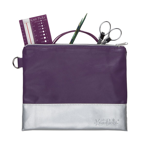 Knit Picks Colorblock Zippered Pouch - Purple & Silver