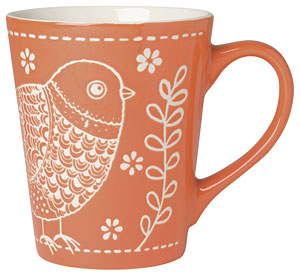 Bird Taper Mug Orange 12oz