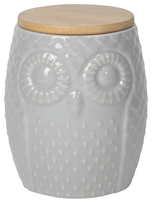 Owl Canister Large Gray