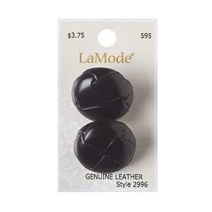 Brown Leather Button 28mm