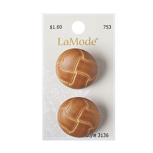 Tan Imitation Leather Button 28mm