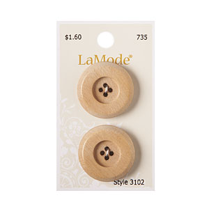 Tan Wood Button, 28mm