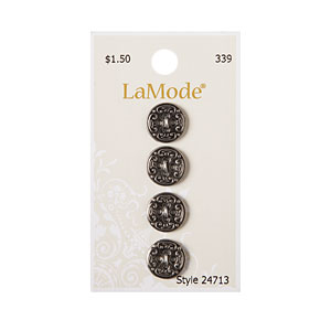 Antique Silver Detailed Button, 12mm