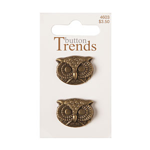 Owl Face Button,. 22mm