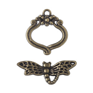 Antique Bronze Dragonfly Toggle Set