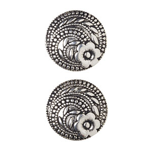 NEW Antique Silver Floral Swirl Button, 17mm
