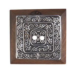 Large Square Metal Inlay Wood Button, 43mm