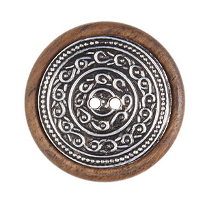 Large Round Metal Inlay Wood Button, 43mm