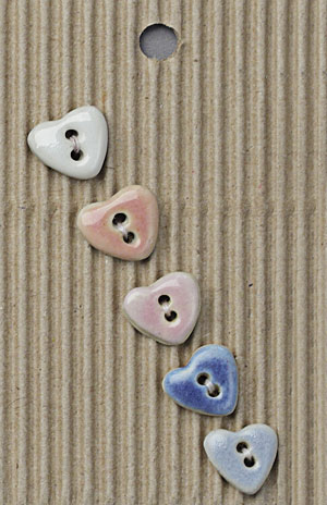 Handmade Small Heart Stoneware Buttons