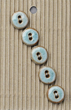 Handmade Small Blue Stoneware Buttons