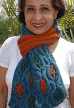 Leaf Cradling Cables Scarf Pattern