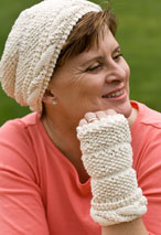 Dimpled Cable Hat & Fingerless Mittens