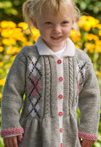 Child Argyle Jacket with Cables Pattern