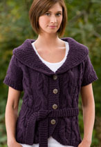 Fitted Cabled Shawl-Collared Vest Pattern