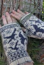 Ravens in Snow Fingerless Mitts Pattern