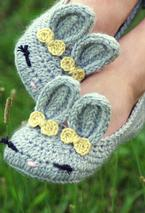 Women's Crochet Bunny Slippers Pattern