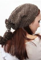 Drawstring Crochet Slouch Hat Pattern