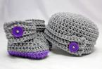 Buttoned Up Baby Booties and Beanie Pattern