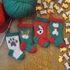 Dog and Cat Knitted Christmas Stocking Ornaments Pattern