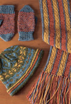 Stranded Hat, Reversible Scarf and Helix Mittens Pattern