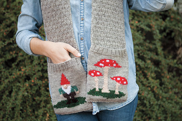 Gnome and Toadstool Scarf Pattern