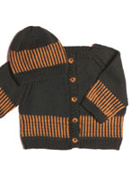 Striped Cardi & Matching Beanie or Beret Pattern Pattern