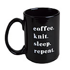 Coffee. Knit. Sleep. Repeat. 16 oz Mug - Black
