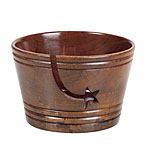 Dark Brown Mango Wood Yarn Bowl with Star