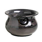 Mango Wood Yarn Bowl with Holes- Black Stain