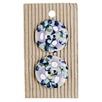 Handmade1.25  Round Blue Purple Flower Stoneware Buttons