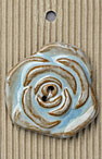 Handmade Large Blue Flower Stoneware Button