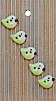 Handmade Green Bird Stoneware Buttons