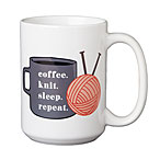 Coffee. Knit. Sleep. Repeat. 15oz Mug