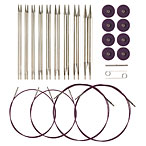 Options Interchangeable Nickel Plated Circular Knitting Needle Set