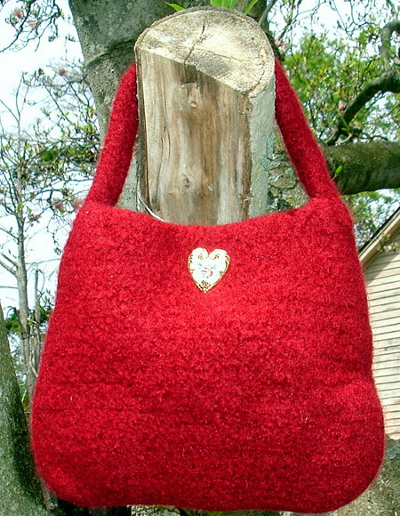 Lady In Red Felted Crochet Evening Bag Knitting Patterns And