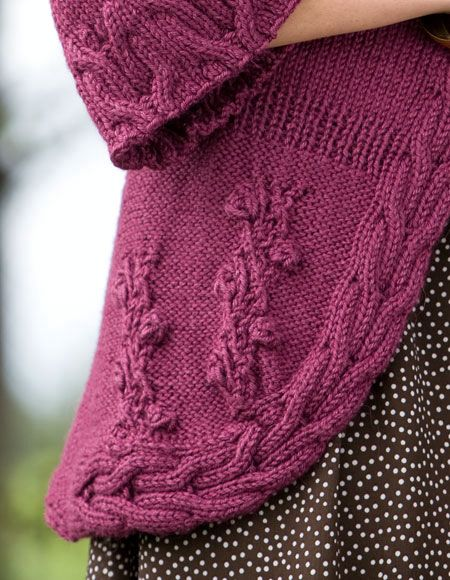Crochet Flower Cardigan Pattern : Cables and Flowers Top-Down Cardigan - Knitting Patterns ...