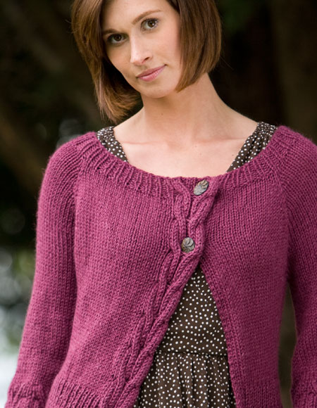 Cables and Flowers Top-Down Cardigan - Knitting Patterns ...