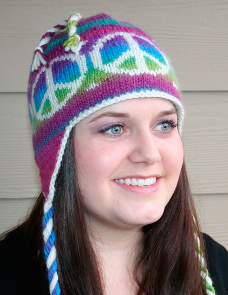 Peace Out Earflap Hat Knitting Patterns And Crochet Patterns From