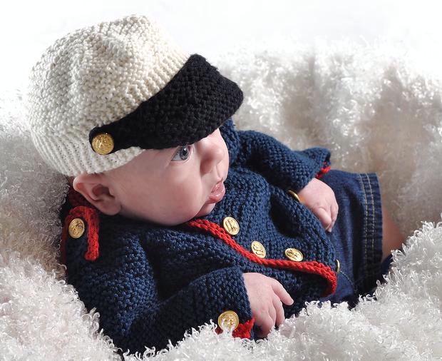 Baby Boy Dress Blues Cardigan & Hat - Knitting Patterns ...