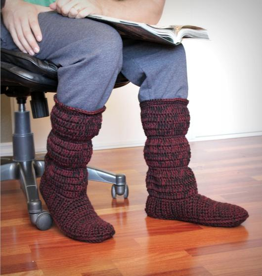 Mens Cozy Crochet Slipper Boots Knitting Patterns And Crochet