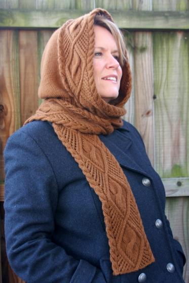 Lace Amp Cable Hooded Scarf Knitting Patterns And Crochet