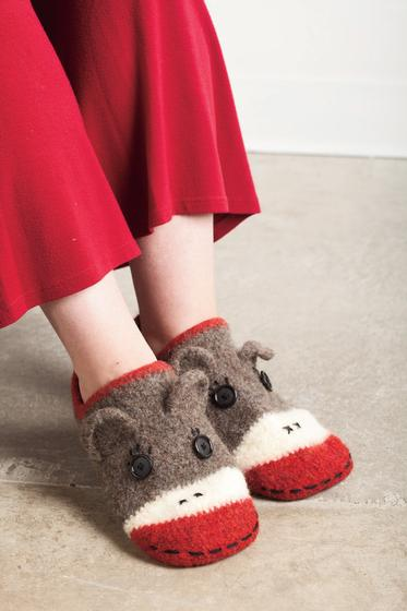 Free Crochet Pattern Sock Monkey Slippers : Crocheted Sock Monkey Slippers - Knitting Patterns and ...
