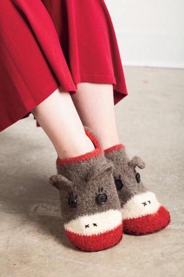 2852298c0fc Crocheted Sock Monkey Slippers - Knitting Patterns and Crochet Patterns  from KnitPicks.com