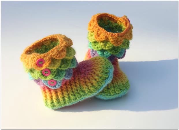 Child Size Crocodile Stitch Crochet Boots - Knitting ...