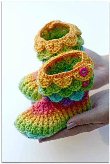 Child Size Crocodile Stitch Crochet Boots Knitting Patterns And