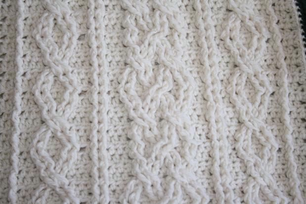 Crochet Cabled Big Block Afghan and Throw Pillow Knitting