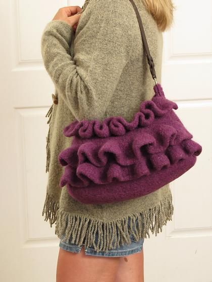 Amethyst Ruffle Felted Purse Knitting Patterns And Crochet