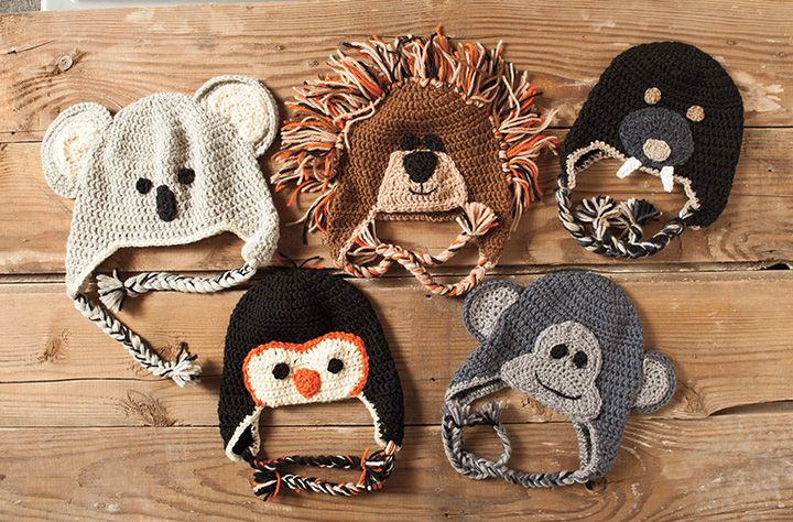 Crochet Zoo of Animals Hats Pattern - Knitting Patterns and Crochet ... 8acf249a027