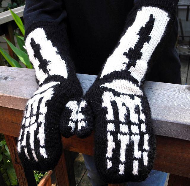 Skeleton Mittens Pattern Knitting Patterns And Crochet Patterns