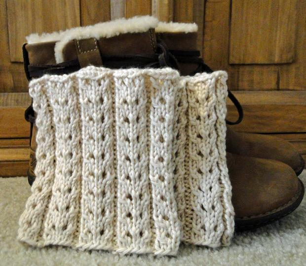 Eyelet Ivory Boot Cuffs Knitting Patterns And Crochet Patterns